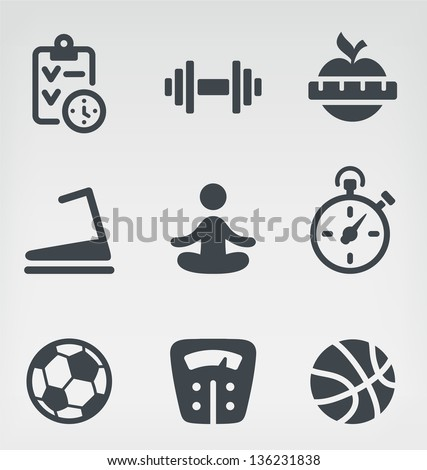 Vector illustration of fitness on light background - stock vector