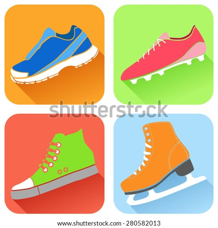 Vector illustration of fitness shoes icon. Sneakers, shoes, football boots, skates. Flat design with shadow.