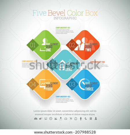 Vector illustration of five bevel color box infographic element. - stock vector