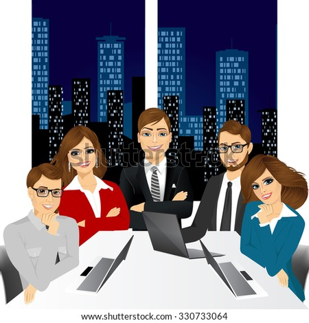 vector illustration of five businesspeople at office in the evening smiling together happy sitting around meeting table - stock vector