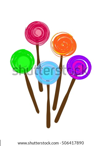 Vector illustration of five different colored lollipops