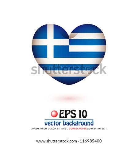 vector illustration of flag of Greece in valentine heart shape - stock vector