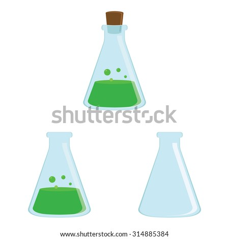 Vector illustration of flask with green substance. Chemical laboratory transparent flask with green liquid. Opened, closed, empty and full