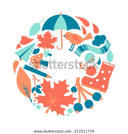 Vector illustration of flat autumn elements. Nature background, decorative art print ornament. Can be used for fabric, textile, T-shirt, wall sticker, postcard design. - stock vector