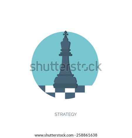 Vector illustration of flat background with chess, business and company strategy. Development and planning. Management. - stock vector