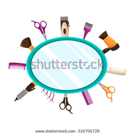 Vector illustration of flat background with Tools for Hairdressing salon or Barbershop such as comb, hairclipper, hairdryer, scissors - stock vector