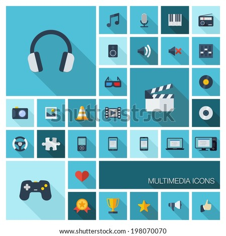 Vector illustration of flat color icons with long shadow. Abstract multimedia and technology background. Digital concept with music, film, gaming, clapperboard, phones, joystick, video, audio symbols. - stock vector