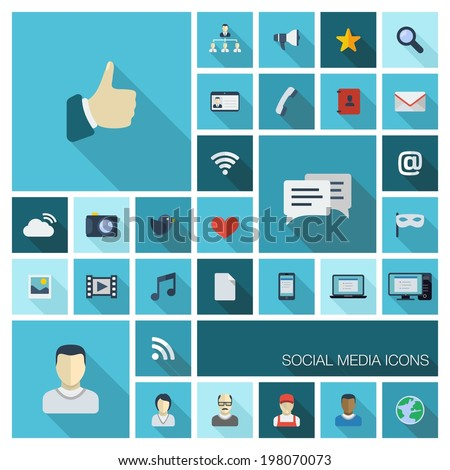 Vector illustration of flat color icons with long shadow. Abstract social media background. Digital concept with like, speech bubble, avatar, computer, communication symbols for web, mobile app design