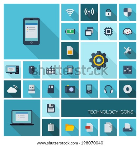 Vector illustration of flat color icons with long shadow. Abstract technology background. Digital concept with mobile phone, laptop, cloud computing, cogwheel, settings, network and media symbols. - stock vector