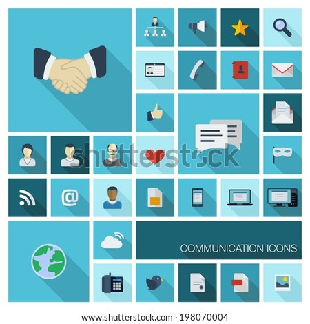Vector illustration of flat color icons with long shadow. Communication concept for web, mobile, business: phone, call, speech bubble, email, letter, envelope, megaphone, like, handshake symbol - stock vector