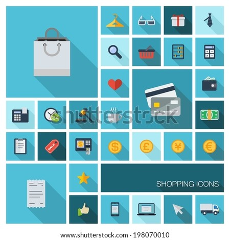 Vector illustration of flat color icons with long shadow. Retail commerce and marketing elements. Shopping, money, finance, economy sign and symbol. Design elements for mobile and web applications.  - stock vector