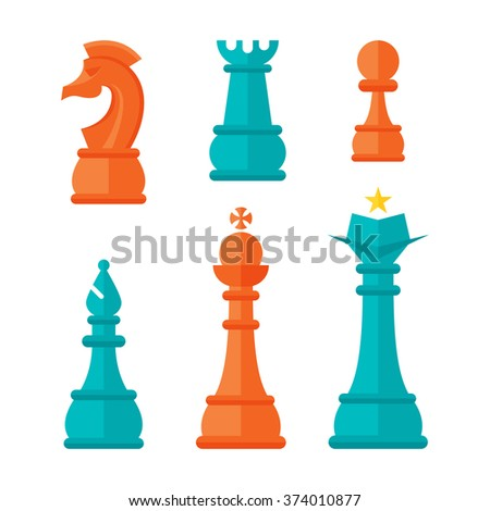 Vector illustration of flat design chess pieces.