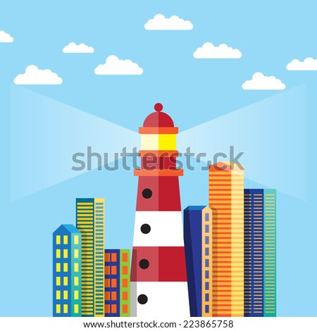 Vector illustration of flat design lighthouse in the city. - stock vector
