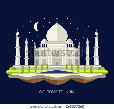 Vector illustration of flat design travel indian composition with Taj Mahal in India - stock vector