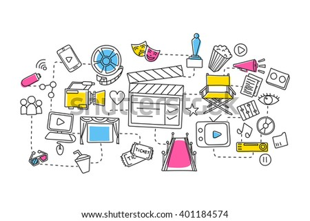 vector illustration of flat line art design of Entertainment and Cinema concept - stock vector