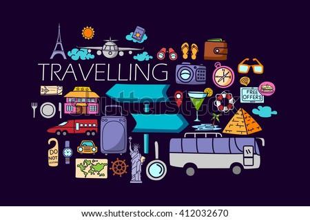 vector illustration of flat line art design of Travel concept for web design template - stock vector