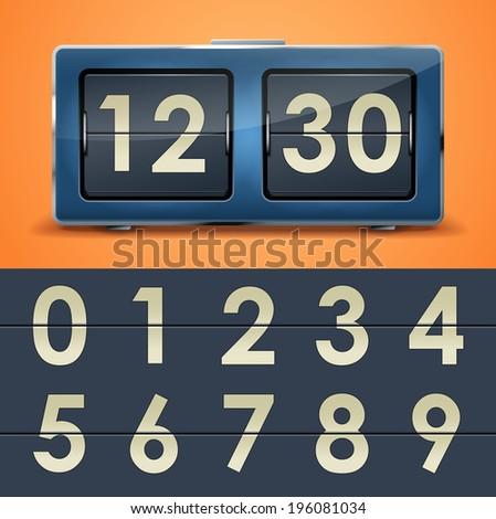 Vector illustration of flip clock table on orange background - stock vector