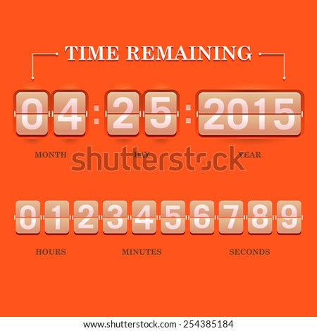Vector illustration of flip clock with white numerals on an orange background. Used to show that time is running out, countdown, time management, time remaining, websites, brochures, printed materials - stock vector