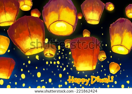 vector illustration of floating lantern in night sky - stock vector