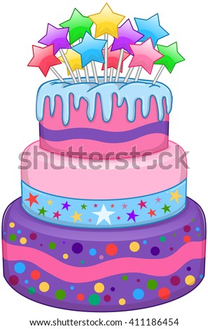 Vector illustration of 3 floors birthday cake with colorful stars on top. - stock vector