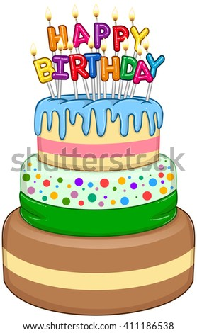 Vector illustration of 3 floors birthday cake with Happy Birthday text and candles on top. - stock vector