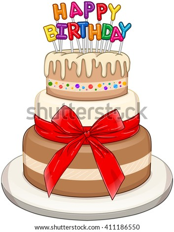Vector illustration of 3 floors birthday cake with Happy Birthday text on top. - stock vector