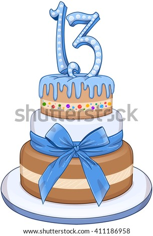 Vector illustration of 3 floors blue cake with the number 13 on top for Bar Mitzvah. - stock vector