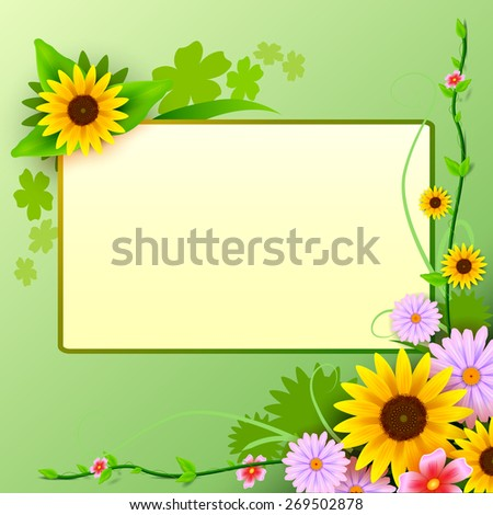 vector illustration of floral background with blank space - stock vector