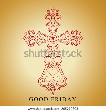 Vector illustration of floral cross for Good Friday. - stock vector