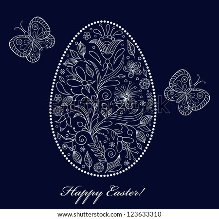 Vector illustration of  floral  easter egg on dark background - stock vector