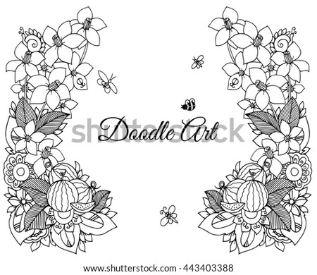 Vector Flower Floral Frame Black White Stock Vector