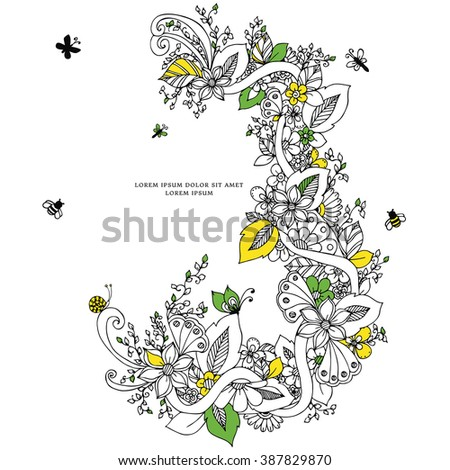 Vector illustration of floral frame zentangl, doodling. Zenart, doodle, flowers, butterflies, delicate, beautiful. Black and white. Adult coloring books - stock vector