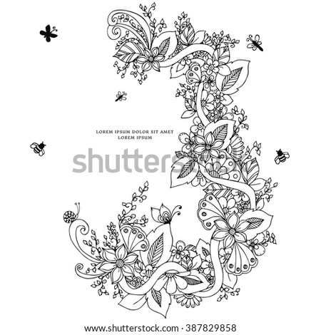 Vector illustration of floral frame zentangle, doodling. Zenart, doodle, flowers, butterflies, delicate, beautiful. Black and white. Adult coloring books - stock vector