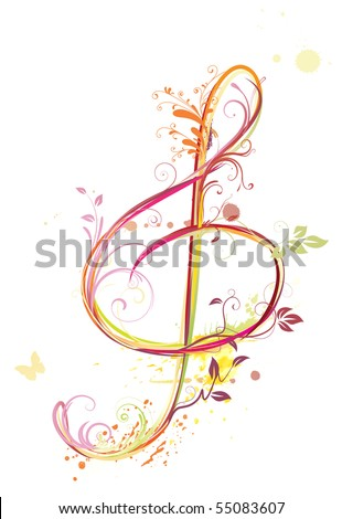 Vector illustration of  floral music abstract background with Treble clef - stock vector