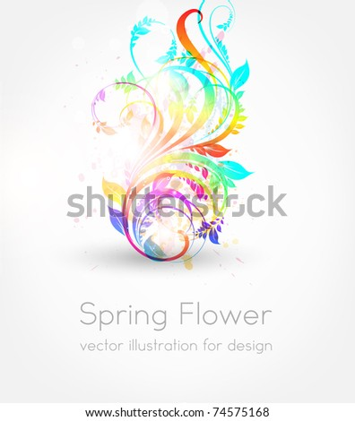 vector illustration of floral ornament for summer design