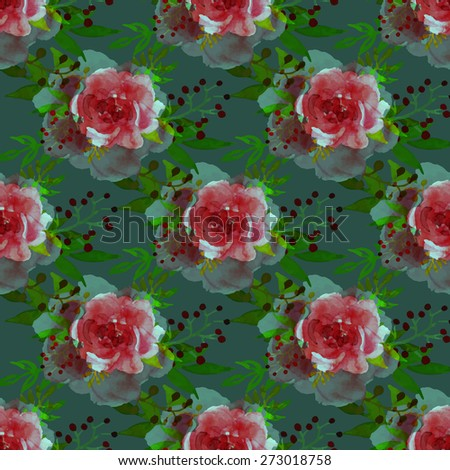 Vector illustration of floral seamless. Colorful floral collection with leaves and flowers, drawing watercolor. - stock vector