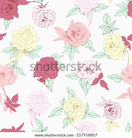 Vector illustration of floral seamless. Isolated red, yellow, pink roses and leaves on white background.