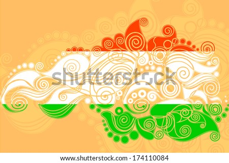 vector illustration of floral swirl in Indian tricolor flag - stock vector