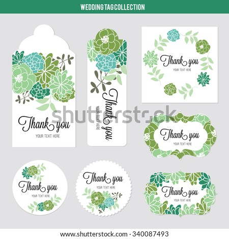 vector illustration floral tags set flowers stock vector