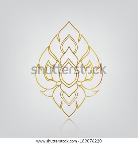 vector illustration of flower, line thai art No.9 - stock vector