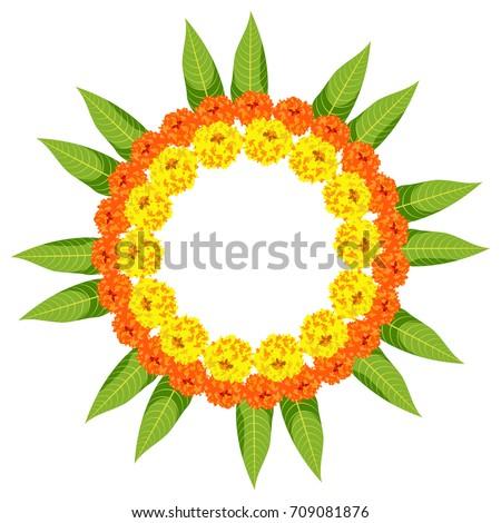 Vector Illustration Of Flower Rangoli Made Using Marigold Or Zendu Genda Flowers And Mango Leaves