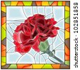 Vector illustration of flower red carnation stained glass window with frame. - stock photo