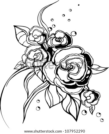 Vector illustration flowers black white colors stock vector vector illustration of flowers in black and white colors mightylinksfo