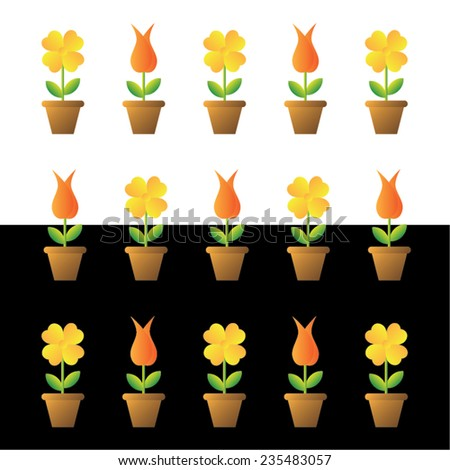 Vector illustration of flowers in pots, isolated on white and black backgrounds.