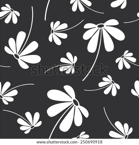 Vector illustration of flowers style seamless pattern - stock vector