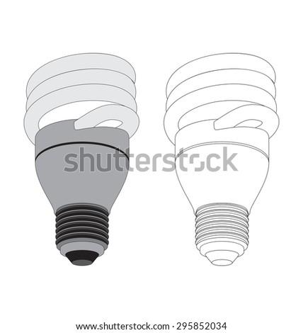 vector illustration of fluorescent light bulb - stock vector