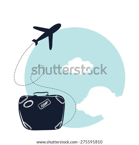 Vector illustration of flying a plane. journey. Hand draw line art design for web, site, advertising, banner, poster, board and print. - stock vector