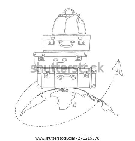 Vector illustration of flying air plane around travel suitcases on planet background - stock vector