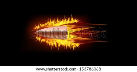 vector illustration of flying burning fire flame bullet on black dark background. Gun theme. - stock vector
