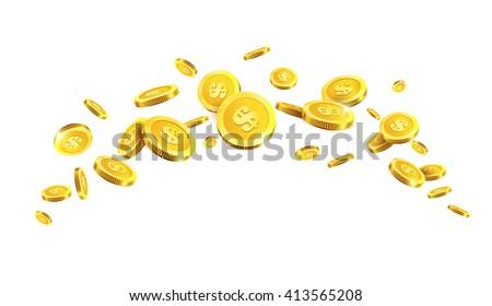 Vector Illustration of flying golden coins. Golden coins. Gold money. - stock vector